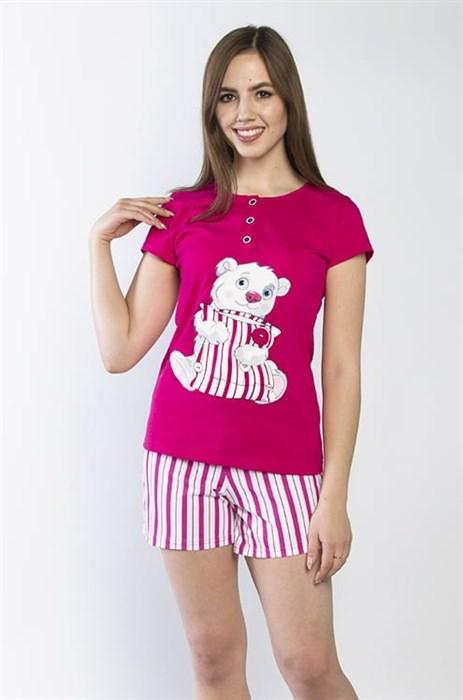"""Пижама женская MARGO, """"Умка"""", малина, футболка с шортами, с принтом - фото 34810"""