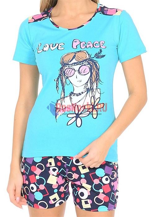 80605 Комплект женский футболка + шорты - фото 7401