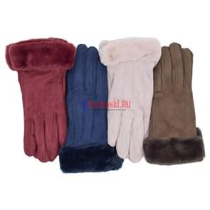 Перчатки женские APOLO, сенсорные, полиэстер, с меховым отворотом