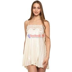 8709 Сорочка женская MARBIN LINGERIE, кружево сверху, тонкая лямка, выше колена